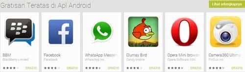 Clumsy Bird berhasil menduduki lima besar top aplikasi android gratis di Google Play Store
