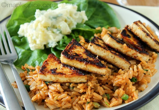 Lightly Charred Zesty Lime Margarita Tofu with Mexican Rice and Potato Salad - vegan and gluten free