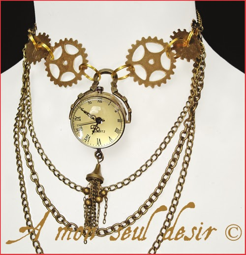 Collier Steampunk Montre Gousset sous Globe rouages bronzes chainettes steampunk gears pocket watch necklace