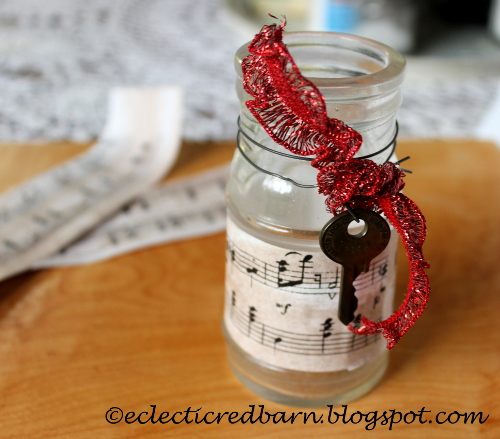 Eclectic Red Barn: Old bottles with sheet music ribbon and old key