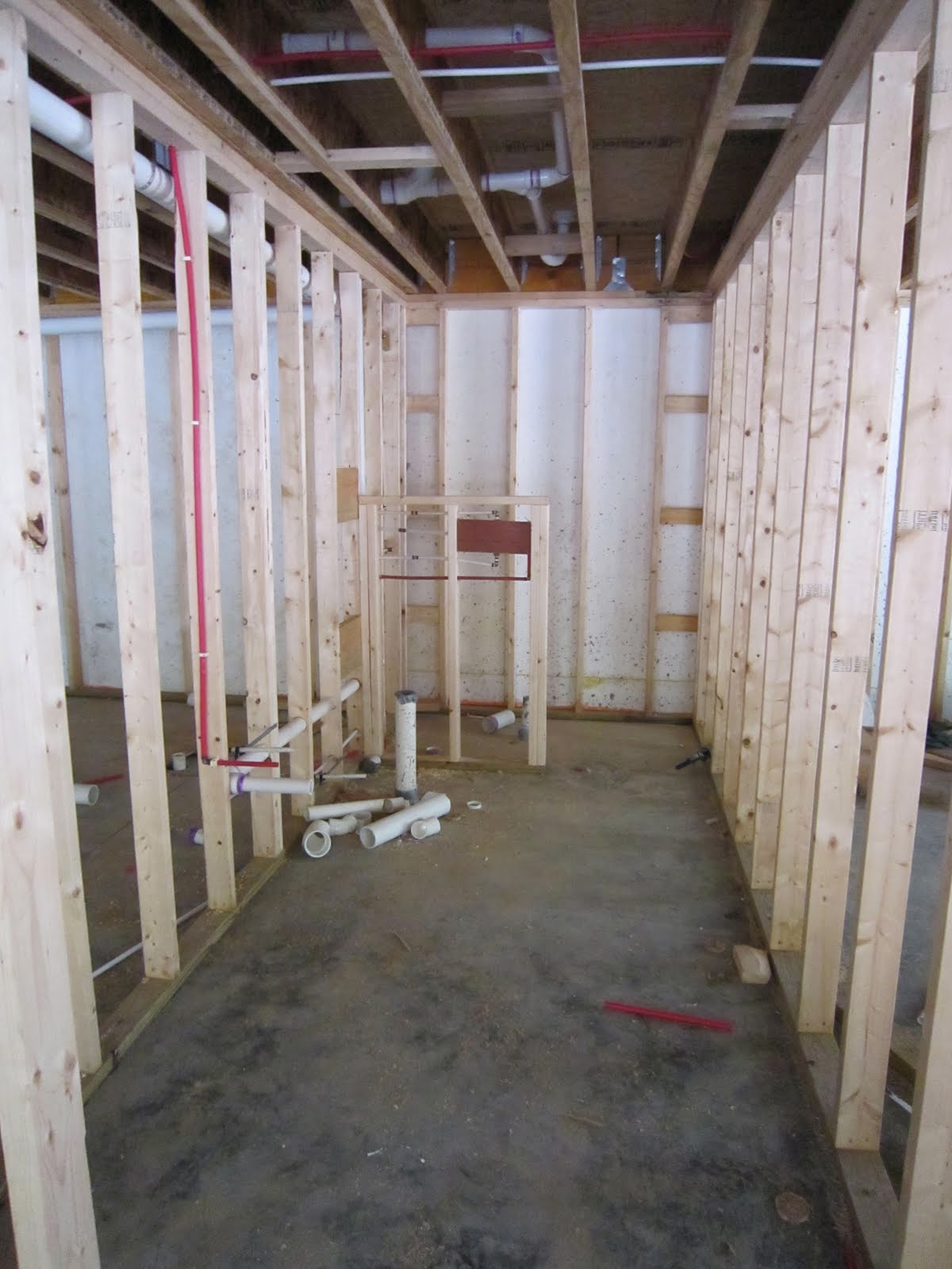 another view of the basement plumbing rough in the shower