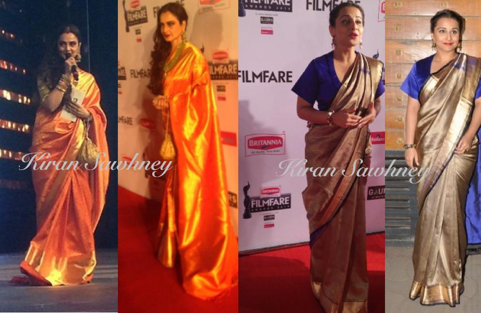 Traditional sari look at 60th Filmfare awards