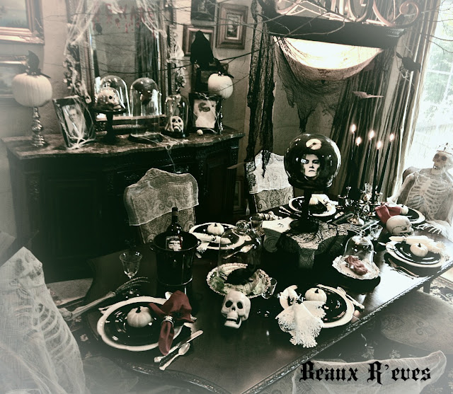 Haunted halloween book decorations 11 image for Haunted dining room ideas