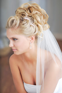 wedding hairstyles half up with tiara and veil