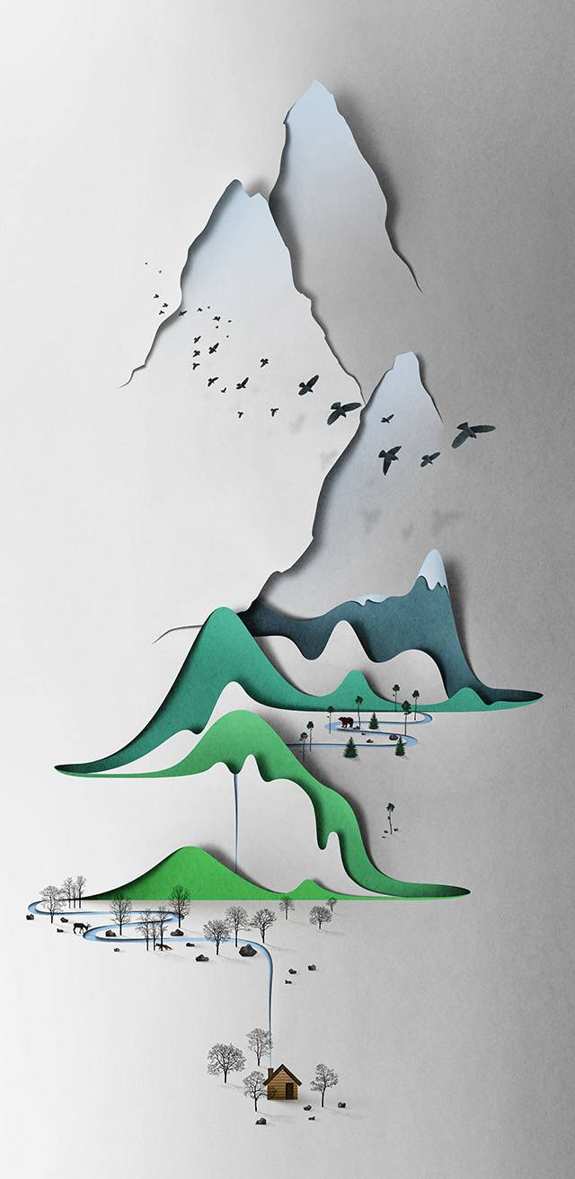 The artist works digitally without the aid of 3D software where he draws everything by hand to create landscapes, figures and portraits that look as if they've been cut from paper. Most critical are the placement of shadows which Ojala also draws by hand, though via email he admits the complexity occasionally requires the use of photographed shadows which he then incorporates into the illustrations. His latest work is this beautiful Vertical Landscape which is easily one of his most accomplished pieces and I think bodes well for this young illustrator's career.