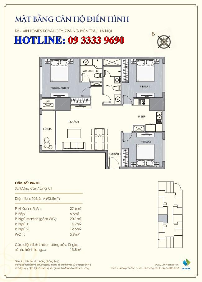 Mặt bằng căn hộ số 10 thông tầng R6 Royal City