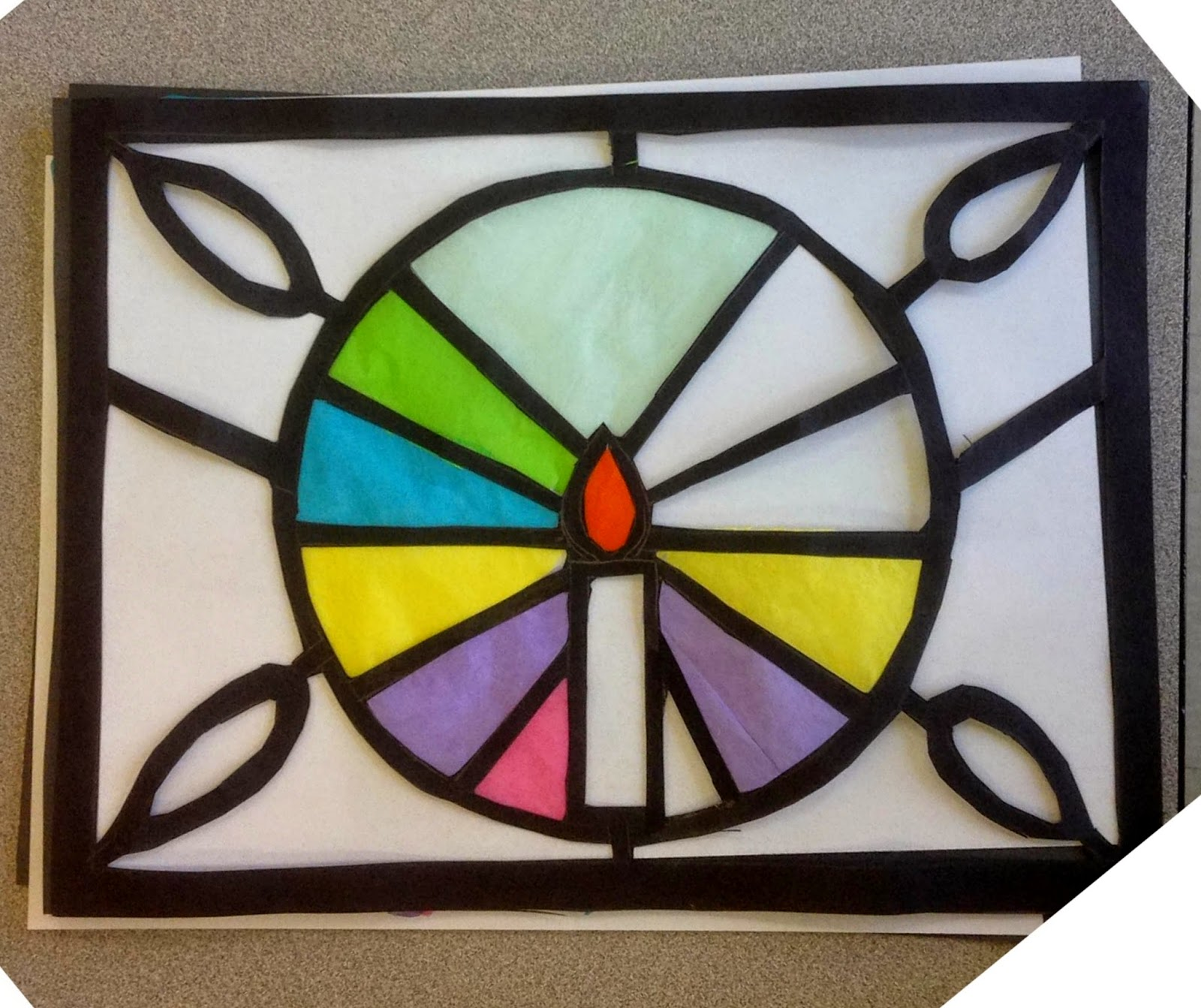 Art class ideas stained glass with tissue paper for Stained glass window craft with tissue paper