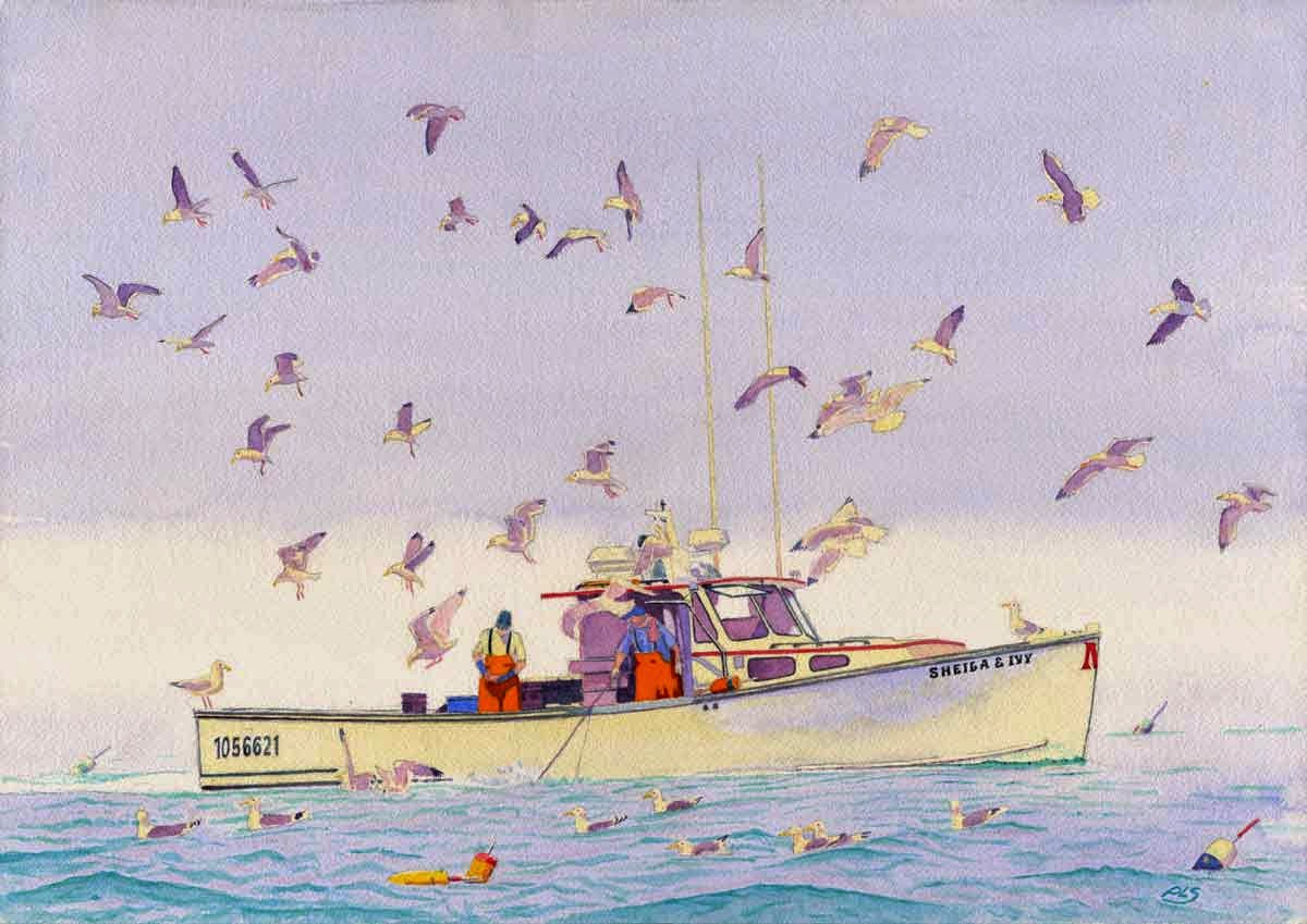 "Shiela & Ivy Lobster Boat - Watercolor 14"" x 20"""