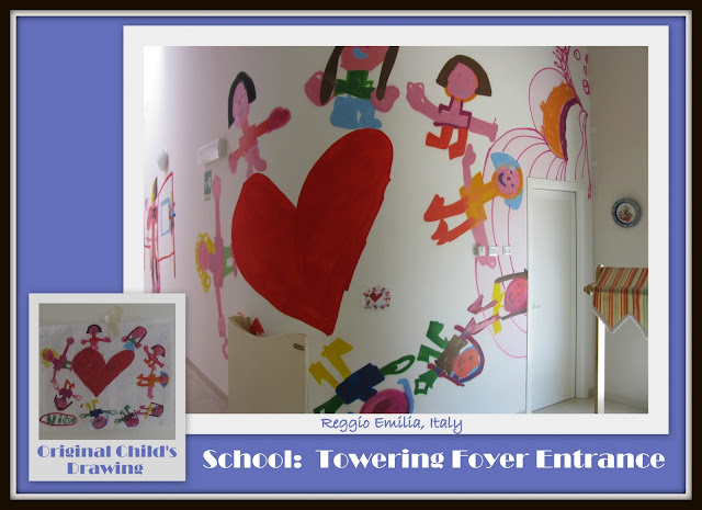 photo of: Reggio Emilia, children's drawings in Reggio Italy, enlarged children's drawings