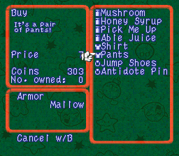 Super Mario RPG Shop screen