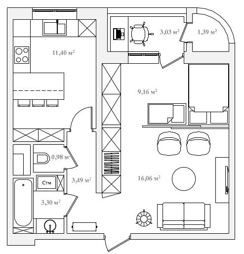 Перепланировка двухкомнатной квартиры в доме серии П-44