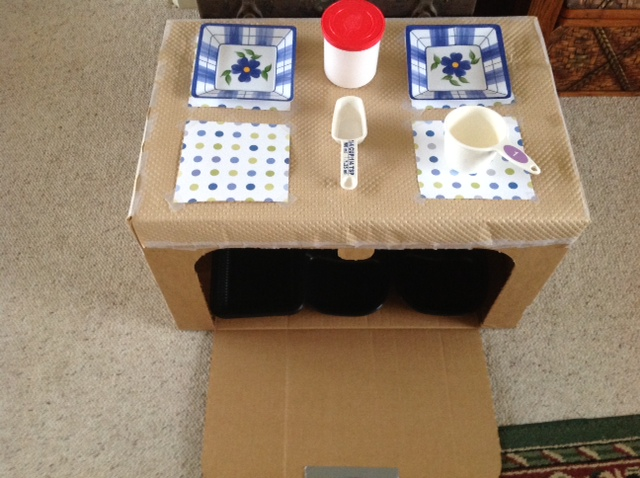 cardboard kitchen for pretend play