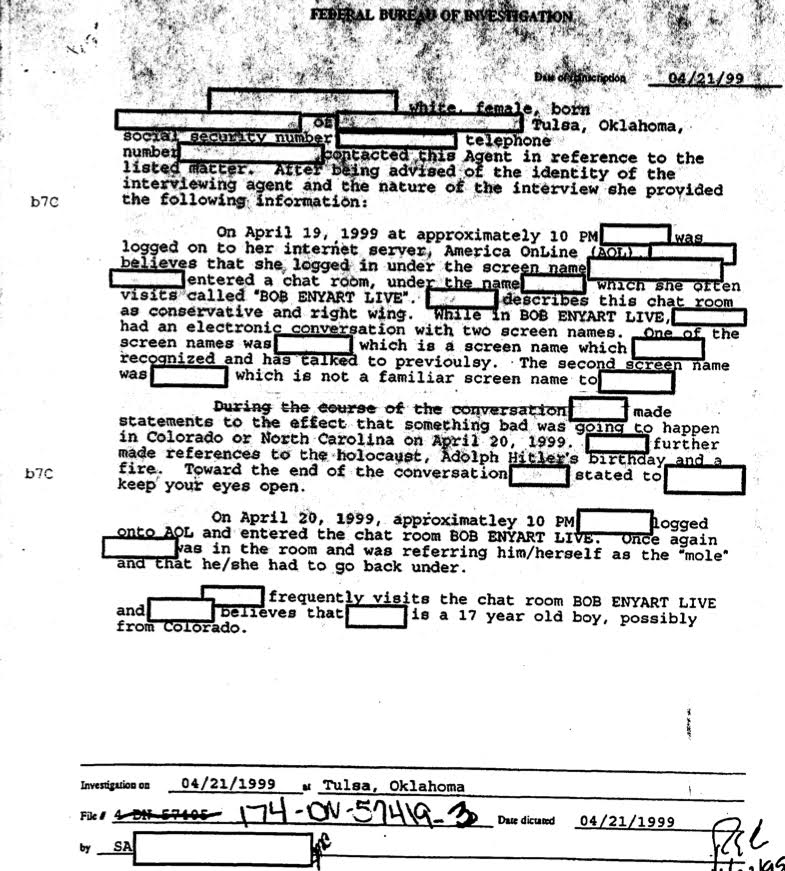 From the FBI vault: 4/21/99 COLUMBINE files: BOB ENYART LIVE