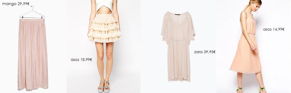 faldas y vestidos nude