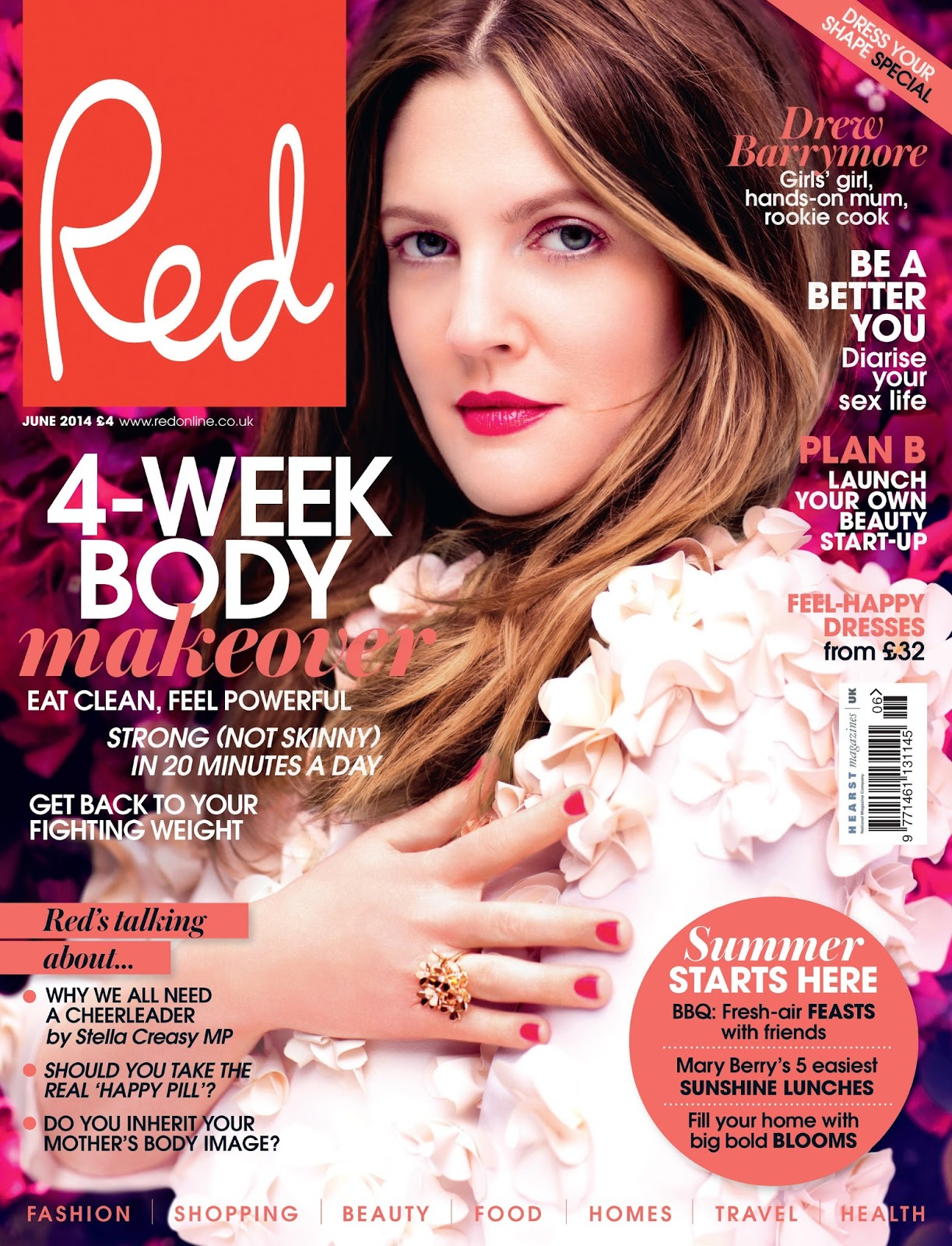 Drew Barrymore For Red Magazine  UK  June 2014Drew Barrymore 2014