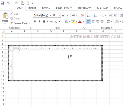 Insert ms word document di excel