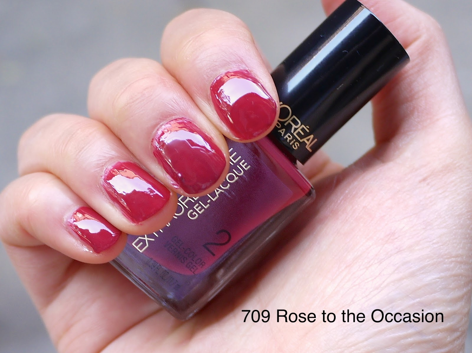 l'oreal extraordinaire gel-lacque 709 rose to the occasion nail swatch