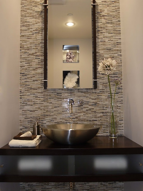 glass mosaic tile backsplash in powder rooms