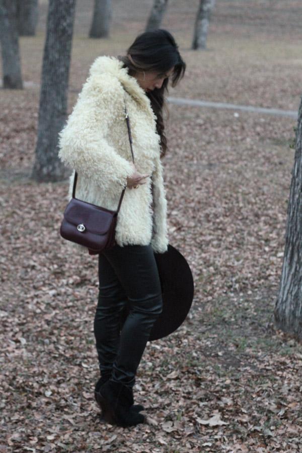 mongolian fur jacket, leith leather leggings, lna hamptons zipper tunic, by boe necklace, missoni for target hat, bottega veneta suede booties, caravelle for bulova rose gold watch, vintage burgundy celine bag