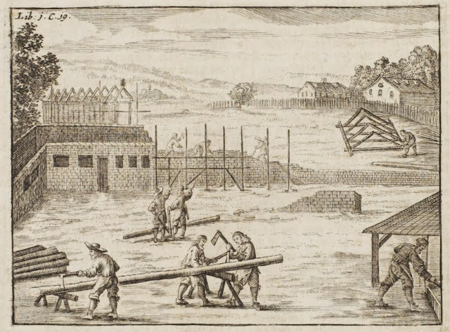 rural scene of wood preparation for building - illustration 1600s