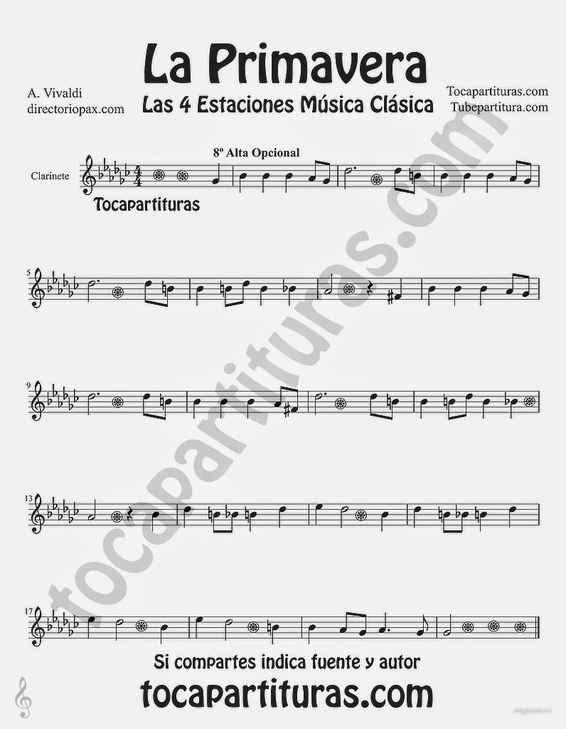 """Tubepartitura La Primavera de Antonio Vivaldi Partitura para Clarinete """"Las Cuatro estaciones de Vivaldi"""""""
