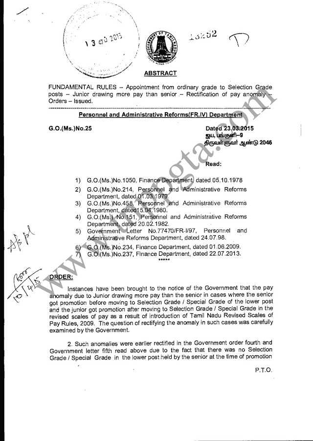 GO (MS) NO 25 DATED 23/03/2015 ; FUNDAMENTAL RULES - Appointment From Ordinary Grade to Selection Grade Posts - Junior Drawing more pay than Senior - Rectification of Pay anomaly - Orders - Issued