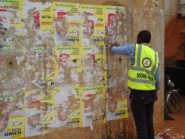Anambra State signage and advertisement agency removing indiscriminate posters