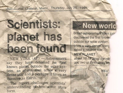 Newspaper article clip - Scientists: planet has been found - July 25 1991