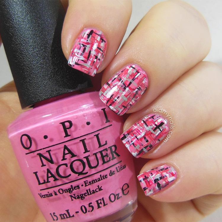 pink tweed nail art