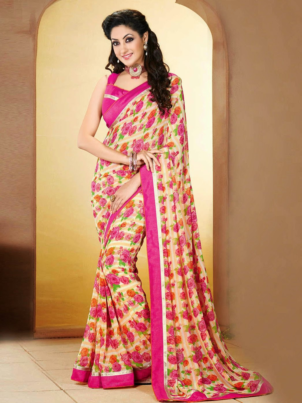 Flower Printed Sarees 2 Animal Print Saree