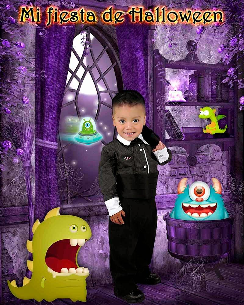 Niño muy elegante rodeado de monstruos en una casona para hollween