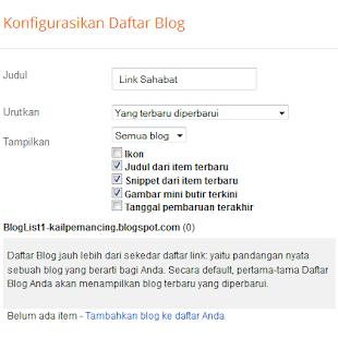 konfigurasi widget Link Sahabat Unik