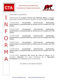 C.T.A. INFORMA CRÉDITO HORARIO CRISTOBAL NIETO, JULIO 2019
