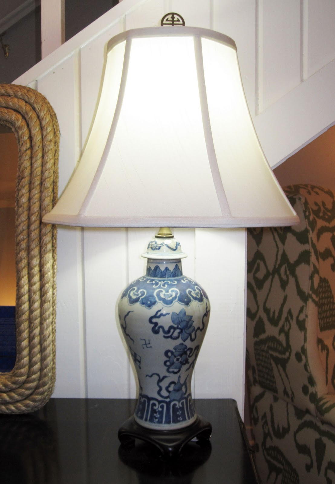 we have two of these taller blue and white ginger jar lamps which. Black Bedroom Furniture Sets. Home Design Ideas