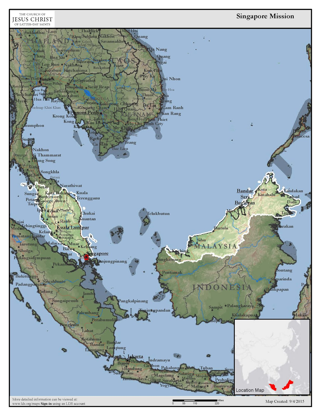 Singapore/Malaysian Region Mission Map
