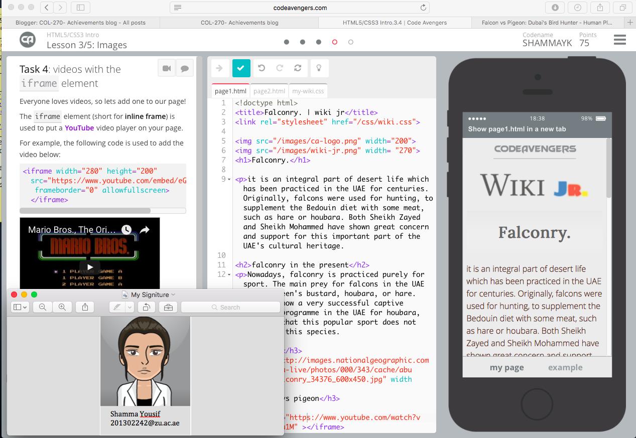 COL-270- Achievements blog: Achievement 45 - Practice HTML at an ...