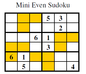 Even Sudoku (Mini Sudoku Series #3)