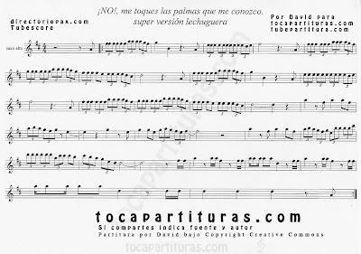 No me toques las palmas que me conozco de María Isabel Partitura de Saxofón Alto