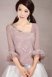 Spring 2014 New Release: Vintage Lavender Pink Trumpet Sleeve Lace Embroidered Top