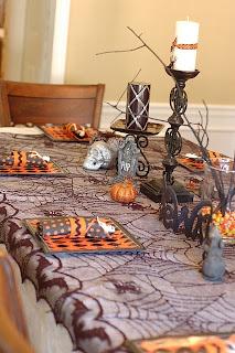 Decoração de Halloween mesa decorada