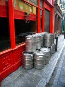 Kegs in need of big bags of ice.