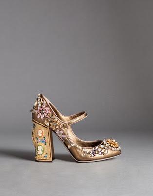 bronze block heel mary janes with embellishments