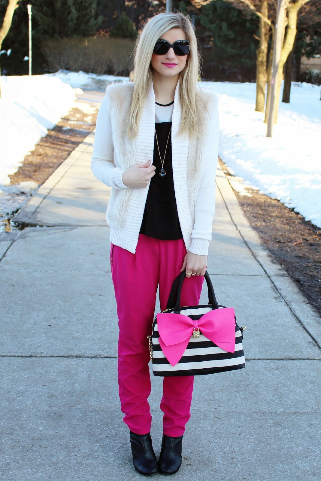 bijuleni,hot pink Zara pants,Betsey Johnson, big bow, Calvin Klein, fur, sunglasses, Chanel,Old Navy, spring, style