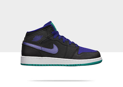Air Jordan 1 Mid (3.5y-7y) Boys' Shoe Black/Black-White-Grape Ice, Style - Color # 554725-015
