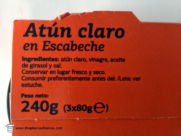 Ingredientes del atún claro en escabeche DIA fabricado por Frinsa del Noroeste S.A.