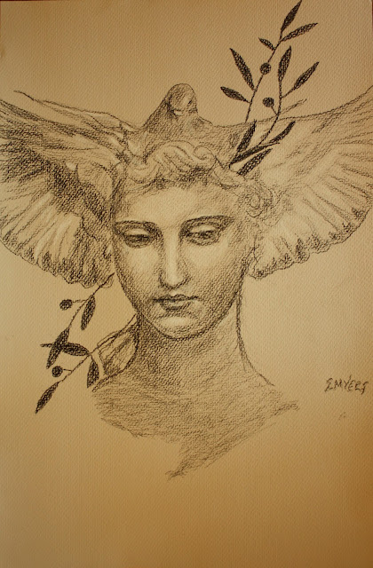 face, peace, charcoal, sarah, myers, paper, conte, olive, dove, pigeon, bird, woman, figurative, human, classic, peaceful, allegorical, art, arte, drawing, shading, grayscale, tone