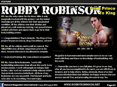 ROBBY ROBINSON - FROM PRINCE TO KING ARTICLE IN NATURAL BODYBUILDING MAGAZINE, AUGUST 2013 Robby's CONSULTATION Services to answer your questions about bodybuilding,  old schoold training and healthy lifestyle - ▶ www.robbyrobinson.net/consultation.php