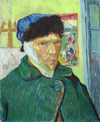 Self-portrait with Bandaged Ear, by Vincent van Gogh,1889.