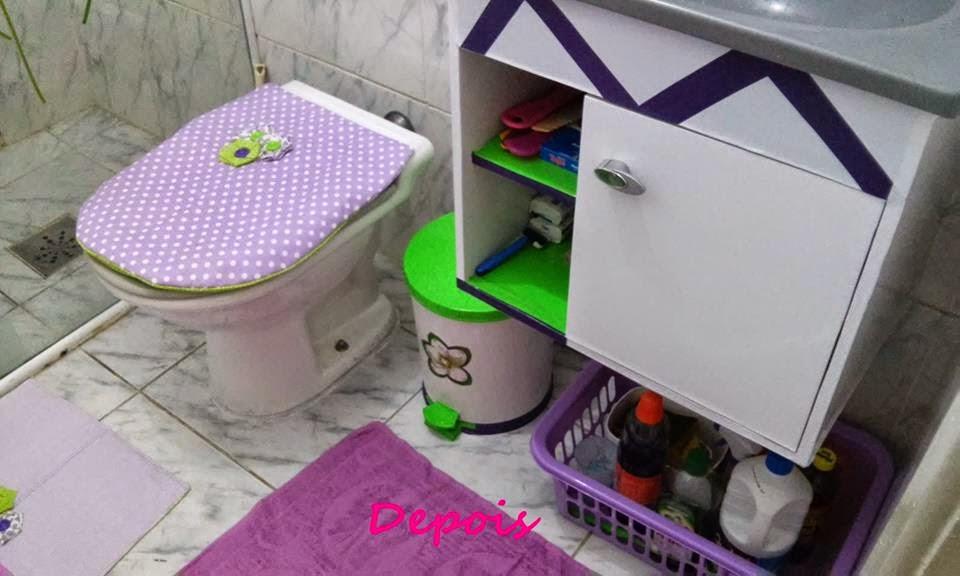 Decoração de Banheiro Simples e Barato! -> Decoracao De Banheiro Com Tecido Adesivo