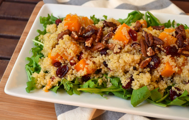 Butternut Squash, Arugula, and Quinoa Salad with Cranberries and Pecans